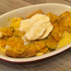 【テレビ番組のレシピをお試し】かぼちゃを潰して食パンと耐熱皿へ!レンチン「かぼちゃフレンチトースト」