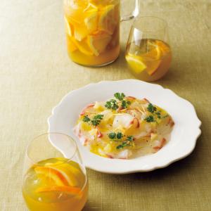 【ノンアルでペアリング!レシピ③】「冷たい緑茶×柑橘」ドリンクには「鯛のカルパッチョ」を!