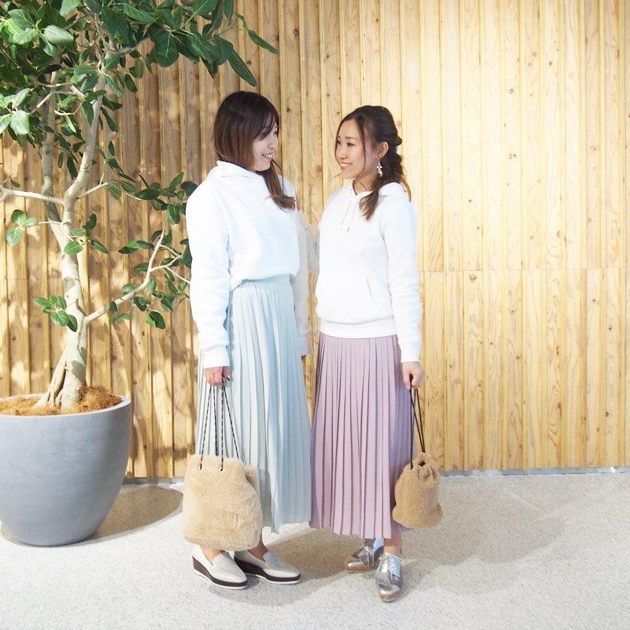 プリーツ ロング スカート シフォン