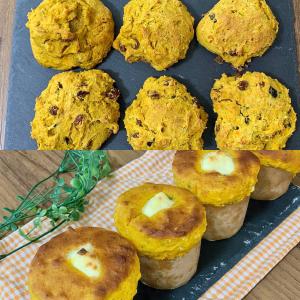 【混ぜて焼くだけ】ホットケーキミックス×かぼちゃで簡単おやつ!自然な甘さがおいしいスコーン&マフィン