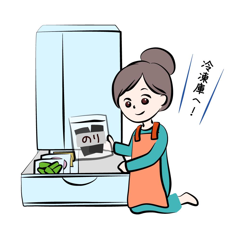 イラスト:冷凍庫にのりを入れる