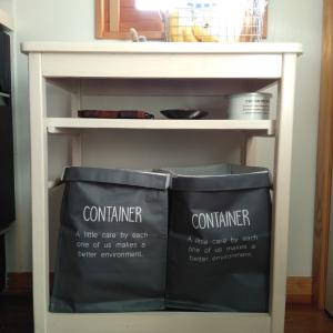 キャンドゥの「連結できるバッグコンテナ」が収納に便利! ランドリーボックスやゴミ箱にもなる☆