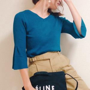 【GU新作】フレアな袖が大人可愛い♡リブ編みですっきりなニットが990円+税!